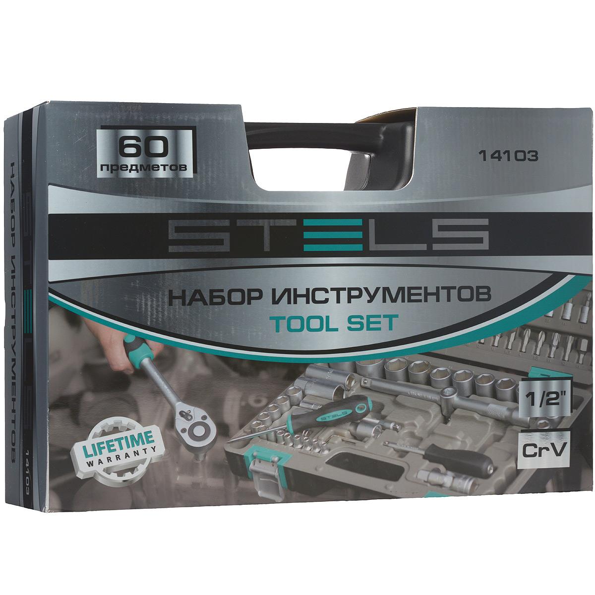 Набор инструментов Stels, 60 предметовS04H3120SНабор инструментов торговой марки Stels разработан специально для автолюбителей и центров технического обслуживания. Каждый этап производства контролируется в соответствии с международными стандартами. Головки и комбинированные ключи изготовлены из хромованадиевой стали, придающей инструменту исключительную твердость в сочетании с легкостью. Набор упакован в кейс, изготовленный из жесткого противоударного пластика.Состав набора:Ключ трещоточный 1/2.Головки торцевые 1/2: 10 мм, 11 мм, 12 мм, 13 мм, 14 мм, 15 мм, 16 мм, 17 мм, 18 мм, 19 мм, 20 мм, 21 мм, 22 мм, 24 мм, 27 мм, 30 мм, 32 мм.Головки торцевые, свечные 1/2: 16 мм, 21 мм.Головки торцевые, удлиненные 1/2: 10 мм, 11 мм, 12 мм, 13 мм, 14 мм, 15 мм, 17 мм, 19 мм, 22 мм.Кардан шарнирный 1/2.Удлинители 1/2: 125 мм, 250 мм.Переходник 3/8-1/2.Переходник для бит 1/2-5/16.Биты-вставки 5/16: H4, H5, H6, H8, H10, H12, H14, SL8, SL10, SL12, PH1, PH2, PH3, PH4, PZ1, PZ2, PZ3, PZ4, T20, T25, T27, T30, T40, T45, T50, T55.