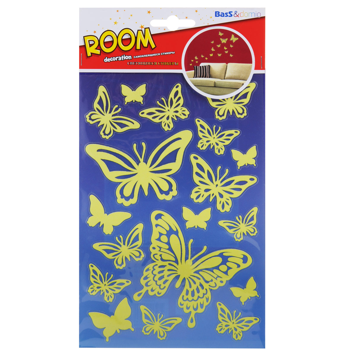 Наклейки для интерьера Room Decoration Бабочки, светящиеся, 21 х 14 смTHN132NУважаемые клиенты!Обращаем ваше внимание на возможные изменения в дизайне упаковки. Качественные характеристики товара остаются неизменными. Поставка осуществляется в зависимости от наличия на складе.