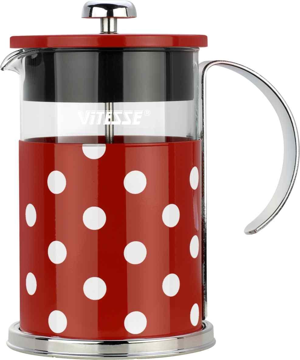 Кофеварка френч-пресс Vitesse, с мерной ложкой, цвет: красный, 800 мл. VS-2622115510Кофеварка Vitesse с фильтром френч-пресс поможет вам в приготовлении ароматного кофе.Колба френч-пресса Vitesse выполнена из термостойкого стекла, что позволяет наблюдать процесс настаиванияи заваривания напитка, а также обеспечивает гигиеничность посуды. Внешний корпус, выполненный изнержавеющей стали с цветным изображением, долговечен, прочен и устойчив к деформации и образованиюцарапин. Френч-пресс имеет удобную ручку, носик, а так же мерную ложку, выполненную из пластика.Кофеварки предназначены для приготовления кофе методом настаивания и отжима. Вы также можетеиспользовать френч-пресс для заваривания чая и различных трав.Уникальный дизайн полностью соответствует последним модным тенденциям в создании предметов бытовойтехники.Можно использовать в посудомоечной машине.Высота кофеварки (без учета крышки): 16 см.Размер кофеварки (с учетом крышки и ручки): 18,5 см х 16,5 см х 11,3 см.Диаметр основания: 11,3 см. Диаметр по верхнему краю: 9,7 см.Объем кофеварки: 800 мл.Длина ложки: 10 см.