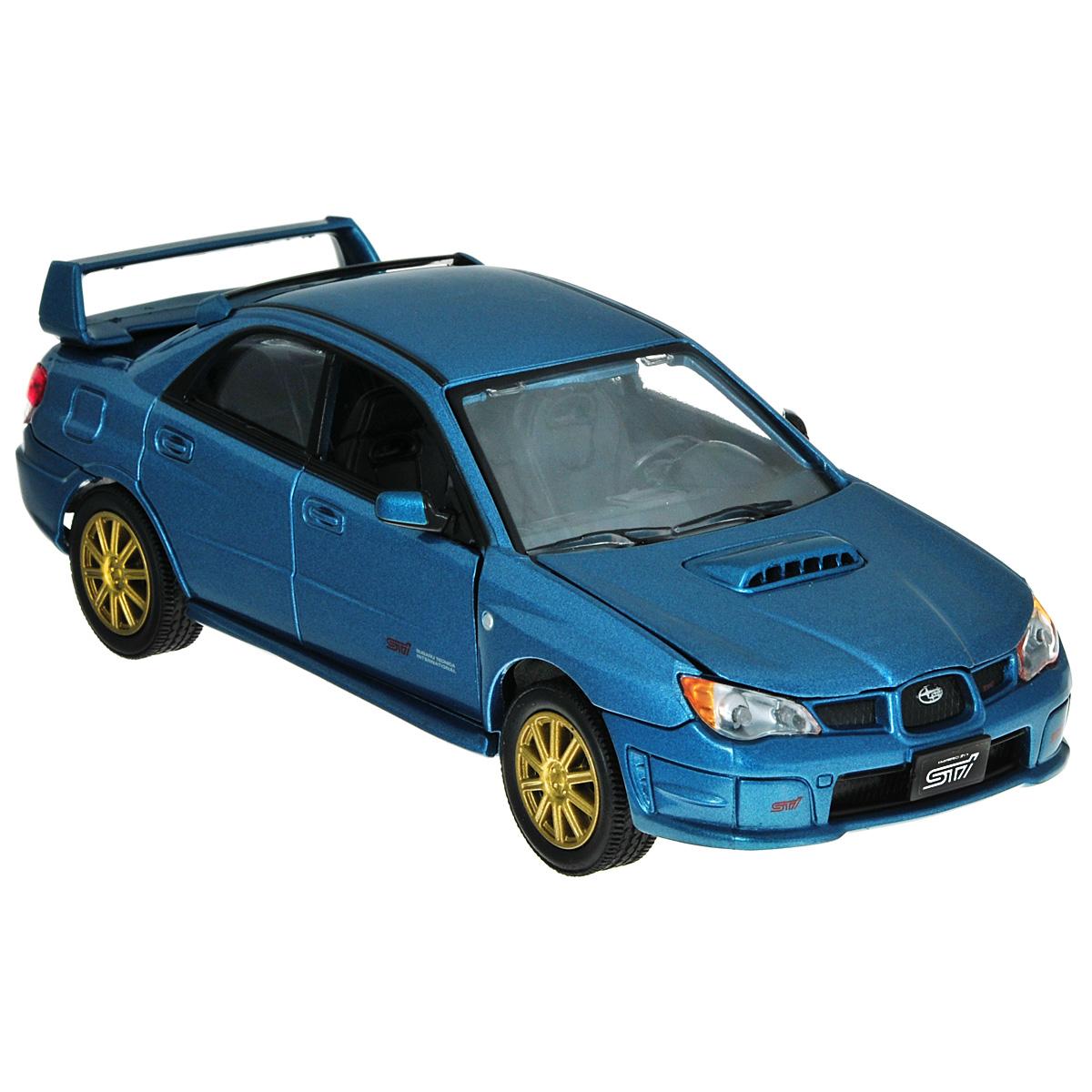 Коллекционная модель MotorMax Subaru Impreza WRX STI, цвет: голубой металлик. Масштаб 1/24 коллекционная модель motormax laмborghini gallardo superleggera цвет черный металлик масштаб 1 24