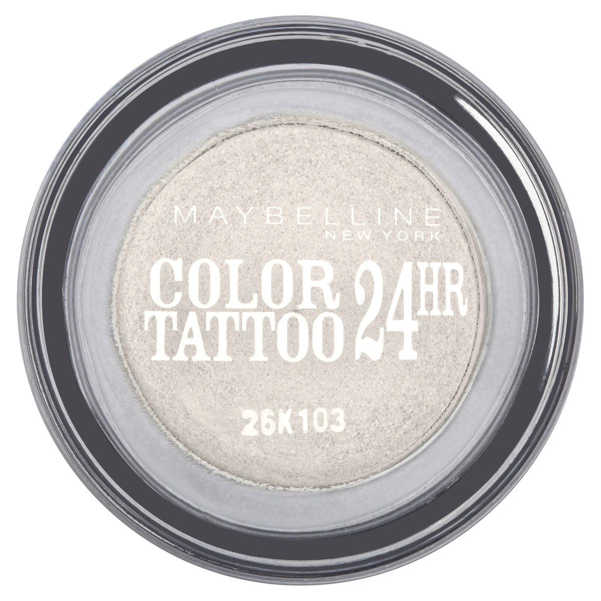 Maybelline New York Тени для век Color Tattoo 24 часа, оттенок 45, Бесконечно белый, 4 млSC-FM20104Технология тату-пигментов создает яркий, супернасыщенный цвет. Крем-гелевая текстура обеспечивает ультралегкое нанесение и стойкость на 24 часа.12 оттенков