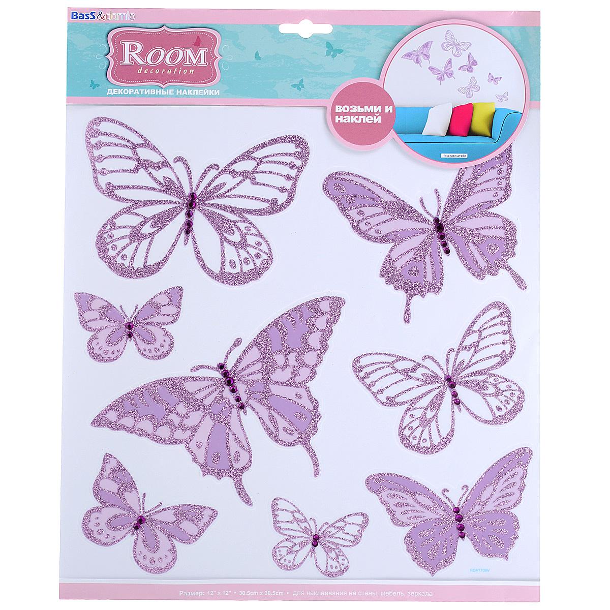 Наклейки для интерьера Room Decoration Бабочки со стразами, цвет: сиреневый, 30,5 см х