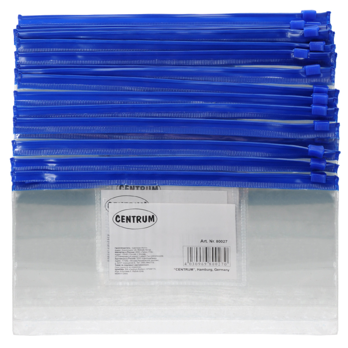Папка-конверт на молнии Centrum, прозрачная, цвет: синий. Евроформат, 20 шт80027сини/прозрачнКомпактная папка-конверт Centrum - это удобный и практичный офисный инструмент, предназначенный для хранения и транспортировки рабочих бумаг и документов формата евро. Папка изготовлена из прозрачного пластика, закрывается на практичную застежку-молнию, имеет опрятный и неброский вид. В комплект входят 20 папок формата евро. Папка-конверт - это незаменимый атрибут для студента, школьника, офисного работника. Такая папка надежно сохранит ваши документы и сбережет их от повреждений, пыли и влаги.Размер папки: 230 х 120 мм.