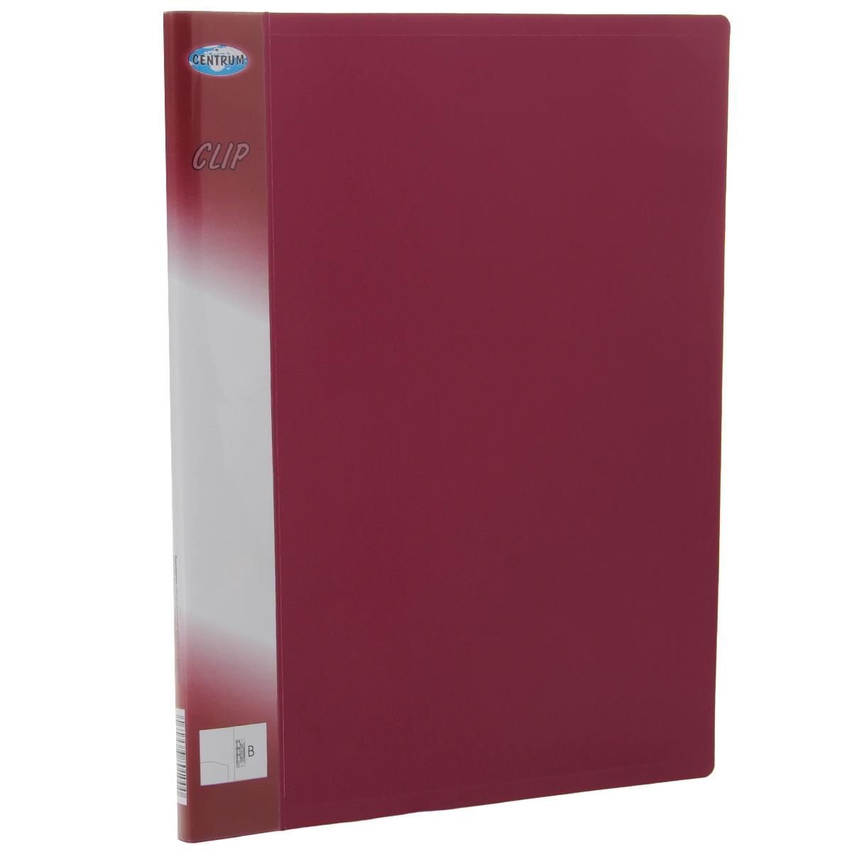 Папка Centrum с боковым зажимом, цвет: вишневый. Формат А4, клип BAC-1121RDПапка с боковым зажимом Centrum - это удобный и практичный офисный инструмент, предназначенный для хранения и транспортировки рабочих бумаг и документов формата А4. Папка изготовлена из непрозрачного плотного пластика и имеет прочный металлический зажим, который не повреждает бумагу. Папка Centrum - это незаменимый атрибут для студента, школьника, офисного работника. Такая папка надежно сохранит ваши документы и сбережет их от повреждений, пыли и влаги.