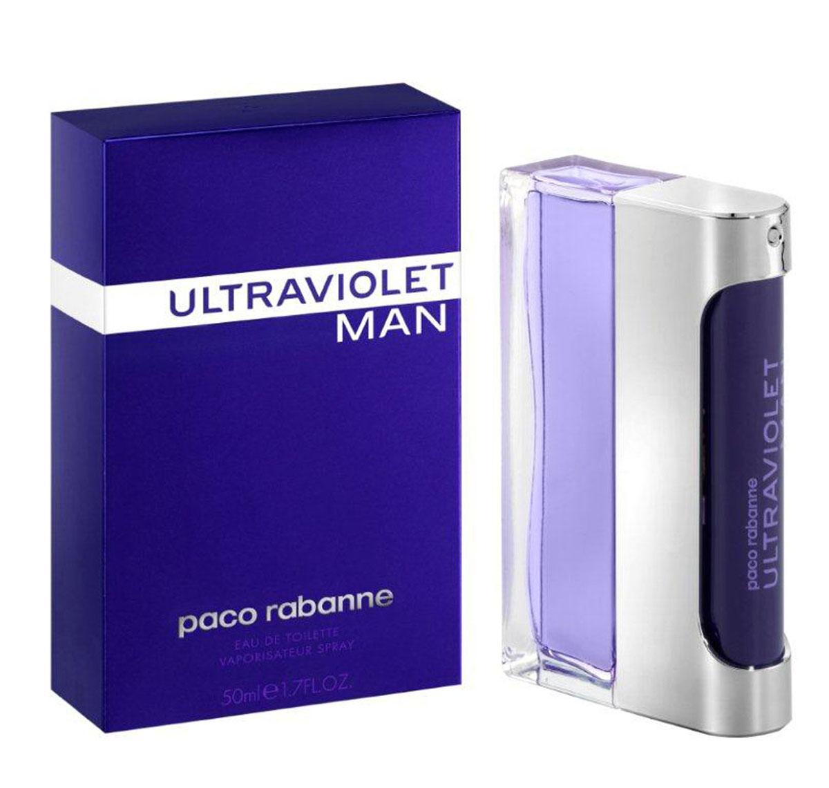 Paco Rabanne Туалетная вода Ultraviolet Man, мужская, 50 мл1301210Герой аромата Ultraviolet от Paco Rabanne ценит новые технологии и не боится отличаться от других. Его привлекает только лучшее. Свежий, древесный, амбровый аромат, олицетворяющий истинно мужскую чувственность, был воссоздан благодаря технологии NATURE PRINT. Сначала аромат раскладывают на молекулы и анализируют, затем идентифицируют и с точностью воссоздают наиболее чистые, устойчивые, лучшие ноты. Начальные ноты аромата – это жидкая мята. Ноты сердца звучат органическим ветивером и кристаллическим мхом. Базовые ноты – это серая амбра.Верхняя нота: Русский кориандр, итальянская мята.Средняя нота: Черный перец из Танзании, серая амбра.Шлейф: Пачули из Индонезии, дубовый мох.Руский кориандр, итальянская мята - яркие неземные аккорды аромата.