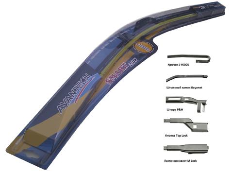 Щетка стеклоочистителя Avantech Smart NEO, бескаркасная, 45 см, 1 штSN18Avantech Smart NEO имеют широкую применяемость креплений на 95% автомобилей производства Японии, Кореи, США, Европы и России. Современные технологии производства обеспечивают равномерное нажатие щетки в независимости от кривизны стекла, а использование синтетической резины и графитового покрытия обеспечивает бесшумную работу и идеальное удаление влаги. Щетки Avantech Smart NEO обладают универсальностью использования, за счет симметричного спойлера их можно устанавливать на автомобили с левым и правым расположением руля, без необходимости менять спойлеры местами. Возможность всесезонного использования.Бескаркасные щетки стеклоочистителей SMART NEO можно установить на следующие типы рычагов:U-Hook - Крюк. Самый распространенный среди всех производителей автомобилей. Более 70% моделей автомобилей имеют рычаг такого типа.Bayonet - Штыковой замок. Устанавливался на ряд моделей Seat, Renault (в том числе Megane), Citroen, Fiat, MMC.Pin Large - Штырь большой. Устанавливался на ряд моделей американского производства.Pin Small - Штырь малый. Устанавливался на ряд моделей американского производства.P&H - Штырь. Популярный рычаг на автомобилях Mercedes, BMW, Audi, VW, Skoda, Opel, Peugeot, Ford.M-Lock - Ласточкин хвост. Популярный рычаг на автомобилях Mercedes, BMW, Audi, VW, Peugeot, Volvo, Hyundai, Chevrolet.Top-Lock - Кнопка. Популярный рычаг на автомобилях Audi, VW, Volvo, Skoda, Seat, Peugeot, Ford, Hyundai, KIA, Citroen.