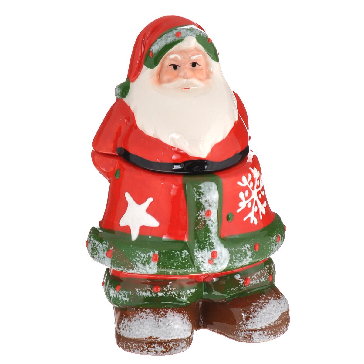 Конфетница Lillo Дед Мороз, 5 х 5 х 14 см115510Конфетница Lillo Дед Мороз изготовлена из высококачественной керамики и выполнена в форме Деда Мороза. Изделие снабжено крышкой и прекрасно подходит для хранения и сервировки конфет. Конфетница Lillo станет отличным подарком к Новому году и порадует вас и ваших близких ярким дизайном. Остерегаться сильных ударов. Не применять абразивные чистящие вещества.