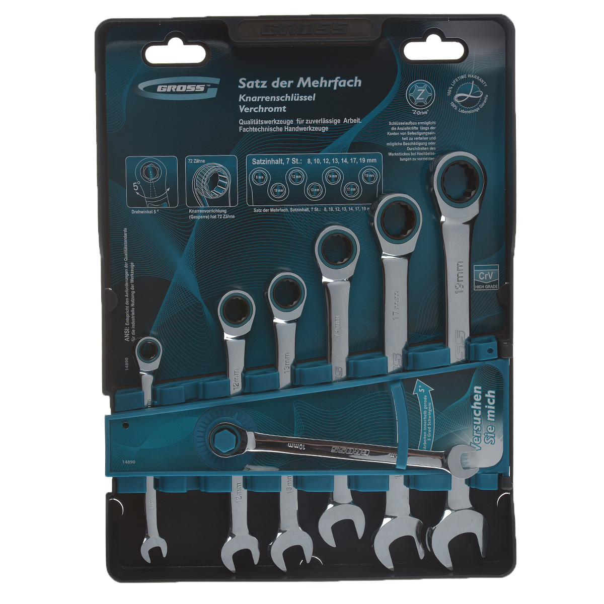 Набор комбинированных ключей с трещоткой Gross, 8-19 мм, 7 шт