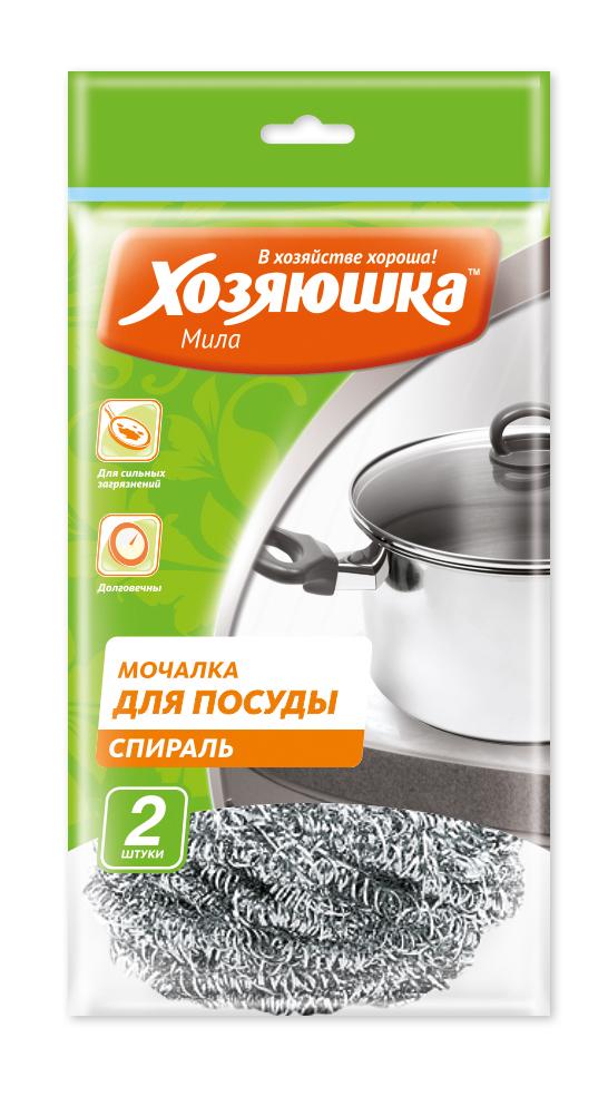 Набор губок спиральных Хозяюшка Мила для посуды, 2 шт70/8/11Набор Хозяюшка Мила состоит из двух спиральных губок, выполненных из тонкой стружки нержавеющей стали. Губка эффективно устраняет сильные загрязнения. Имеет долгий срок службы, не окисляются. Прекрасно справляется с очисткой грилей, барбекю, решёток и других предметов для жарки. Не использовать для мытья антипригарных поверхностей, пластиковых и эмалированных предметов и других деликатных поверхностей.Комплектация: 2 шт.Диаметр губки: 7,5 см.
