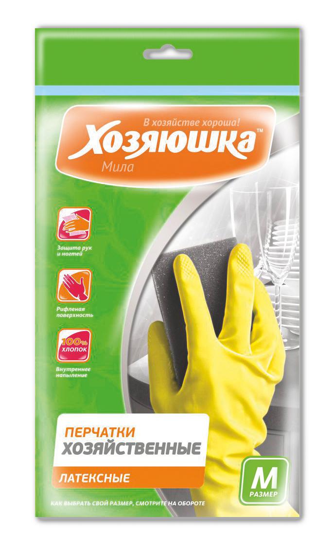 Перчатки хозяйственные Хозяюшка Мила, латексные. Размер МK100Перчатки хозяйственные защищают руки от вредных воздействий при любых работах по дому, в саду, при ремонтных работах. Хлопковое напыление обеспечивает комфорт и дополнительное удобство для рук, предотвращает возникновение парникового эффекта. Рифленая поверхность позволяет надежно удерживать предметы в руках.