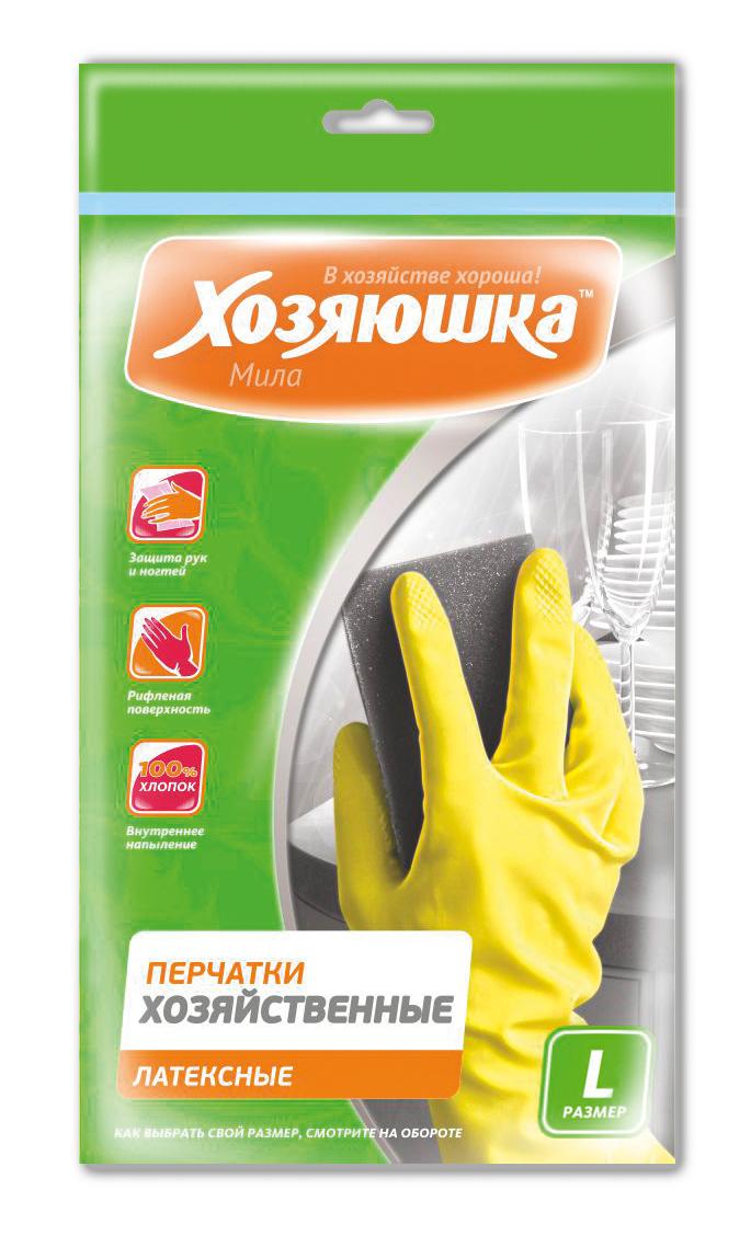 Перчатки хозяйственные Хозяюшка Мила, латексные. Размер L787502Перчатки хозяйственные защищают руки от вредных воздействий при любых работах по дому, в саду, при ремонтных работах. Хлопковое напыление обеспечивает комфорт и дополнительное удобство для рук, предотвращает возникновение парникового эффекта. Рифленая поверхность позволяет надежно удерживать предметы в руках.
