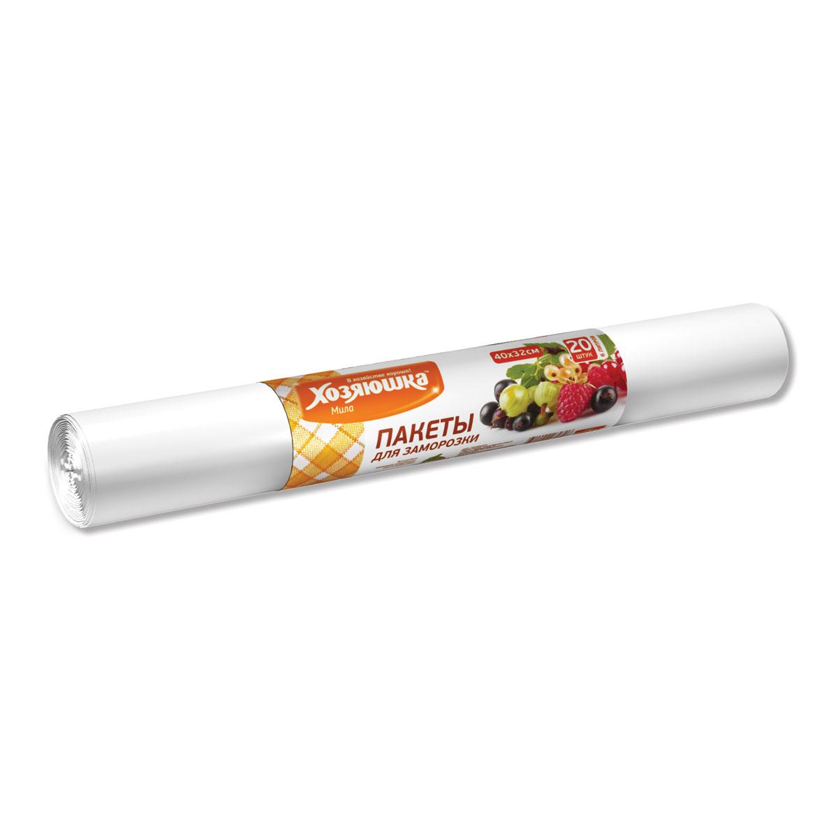Пакеты для замораживания и хранения Хозяюшка Мила, 6 л, 20 шт115510Пакеты Хозяюшка Мила предназначены для хранения и замораживания продуктов. Также их можно использовать для хранения сыпучих продуктов и мелких предметов.Пакеты для замораживания продуктов изготавливаются из высококачественного полиэтилена низкого давления. Выдерживают температуру от -400С до +1150С и могут использоваться не только для замораживания, но также для разогрева, хранения продуктов. Охлаждённые или замороженные продукты можно разогревать / размораживать в микроволновой печи, не вынимая из пакета. Замороженные продукты не прилипают к пакету.