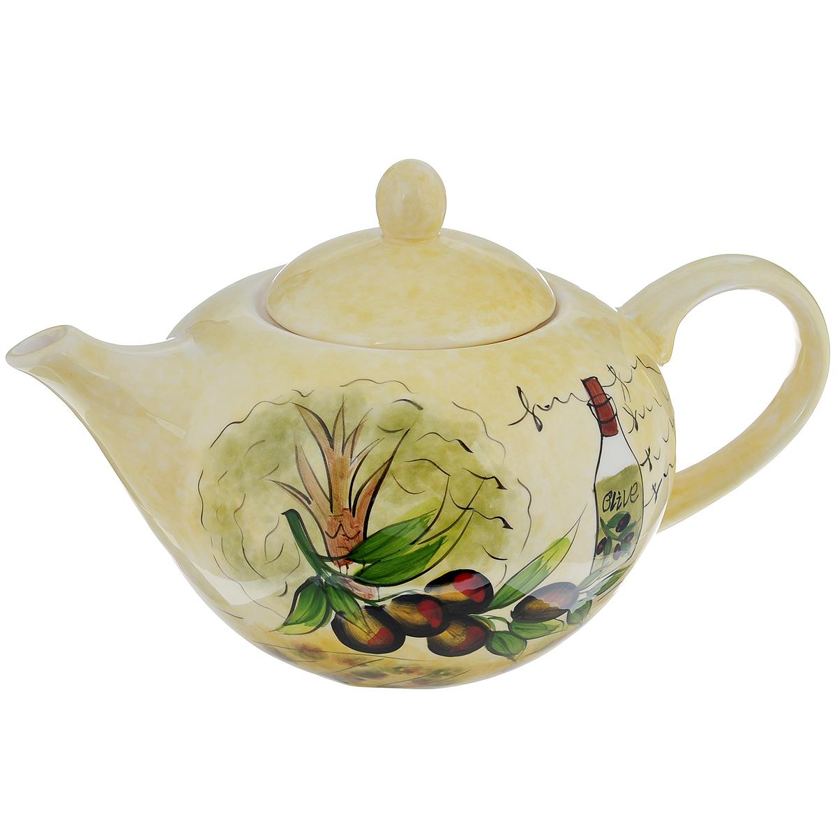 Чайник заварочный Маслины, 1,3 л115510Чайник заварочный Маслины изготовлен из доломитовой керамики и украшен красочным изображением маслин. Такой дизайн, несомненно, придется по вкусу и любителям классики, и тем кто ценит красоту и изящество. Чайник заварочный Маслины украсит ваш кухонный стол, а также станет замечательным подарком к любому празднику. Можно мыть в посудомоечной машине на минимальной температуре.