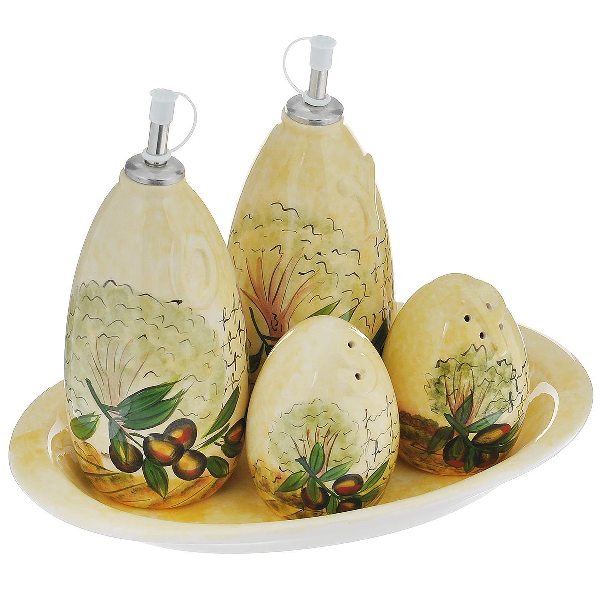 Набор для специй Маслины, 5 предметовDFC02080-02208 5/SНабор Маслины состоит из двух соусников, перечницы и солонки. Предметы набора изготовлены из доломитовой керамики и декорированы изображением маслин. Изделия помещаются на удобную овальную подставку. Оригинальный дизайн, эстетичность и функциональность набора позволят ему стать достойным дополнением к кухонному инвентарю.Можно мыть в посудомоечной машине на минимальной температуре.Высота соусника (с учетом крышки): 19,5 см.Диаметр основания соусника: 6,3 см.Высота солонки и перечницы: 9,5 см.Диаметр основания солонки и перечницы: 5,3 см.Размер подставки: 28,5 см х 18 см х 3 см.
