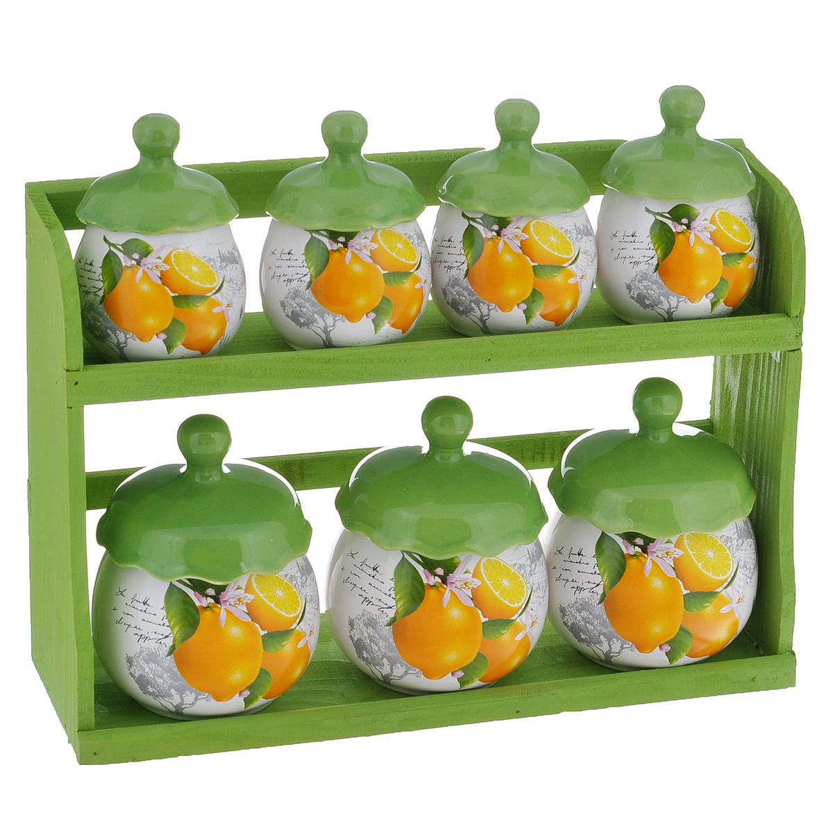 Набор банок для хранения сыпучих продуктов Лимоны, цвет: зеленый, белый, 8 предметовVT-1520(SR)Набор Лимоны состоит из трех больших банок, четырех маленьких банок и подставки. Предметы набора изготовлены из доломитовой керамики и декорированы изображением лимонов. Изделия помещаются на удобную деревянную подставку. Оригинальный дизайн, эстетичность и функциональность набора позволят ему стать достойным дополнением к кухонному инвентарю.Можно мыть в посудомоечной машине на минимальной температуре.Диаметр основания большой емкости: 6 см.Высота большой емкости (без учета крышки): 8 см.Диаметр основания маленькой емкости: 4,8 см.Высота маленькой емкости (без учета крышки): 6 см.Размер подставки: 22 см х 10,5 см х 32,5 см.