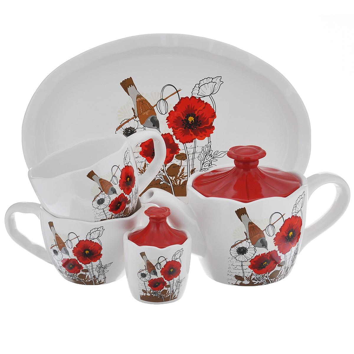 Набор чайный Маки, 5 предметов115510Набор чайный Маки состоит из двух чашек, заварочного чайника, сахарницы и подноса. Набор выполнен из доломитовой керамики и декорирован изображением цветов. Оригинальный дизайн, эстетичность и функциональность набора позволят ему стать достойным дополнением к кухонному инвентарю.Можно мыть в посудомоечной машине на минимальной температуре.