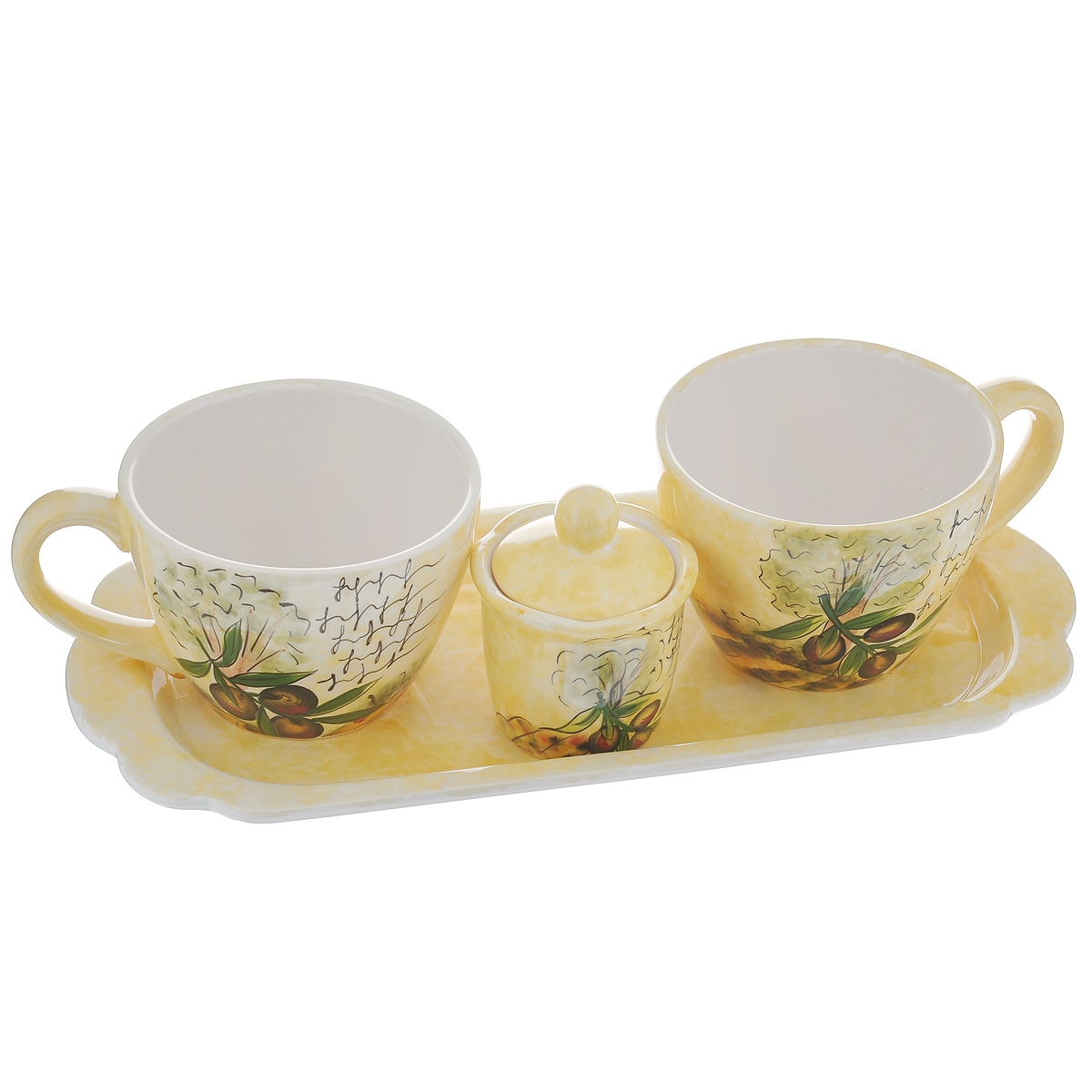Набор чайный Маслины, 4 предмета115510Набор чайный Маслины состоит из двух чашек, сахарницы и подставки. Набор выполнен из доломитовой керамики и декорирован изображением маслин. Оригинальный дизайн, эстетичность и функциональность набора позволят ему стать достойным дополнением к кухонному инвентарю.Можно мыть в посудомоечной машине на минимальной температуре.Объем чашки: 480 мл.Диаметр чашки (по верхнему краю): 10,5 см.Высота чашки: 8 см.Размер подставки: 35 см х 16 см х 2,5 см.Объем сахарницы: 100 мл.Диаметр сахарницы (по верхнему краю): 7,5 см.Высота сахарницы (без учета крышки): 6 см.