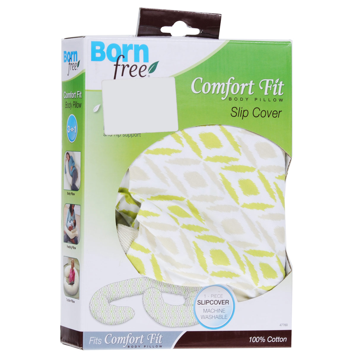 Наволочка на подушку для беременных  Born Free , цвет: белый, бежевый, салатовый -  Чехлы для подушек беременным