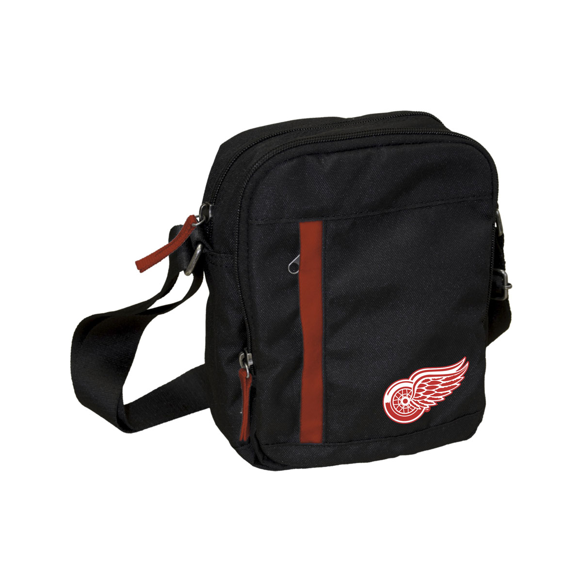 Сумка на ремне NHL Red Wings, цвет: черный, 3,5 л. 5801758022Универсальная сумка NHL Red Wings на регулируемом плечевом ремне имеет два отделения на молнии. Внешний карман на молнии отделан контрастной полосой. Основное отделение содержит четыре небольших кармана для мелочей, один из них на молнии. Сумка украшена эмблемой хоккейной команды Red Wings.