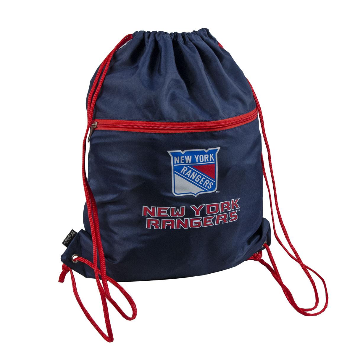 """Мешок на шнурке NHL """"Rangers"""" выполнен из 100% полиэстера. Он выполняет функции рюкзака, благодаря плечевым лямкам, которые надежно фиксируют изделие у его верхнего основания. Мешок имеет 2 отделения, одно из которых закрывается на молнию. Украшен эмблемой хоккейной команды Rangers."""