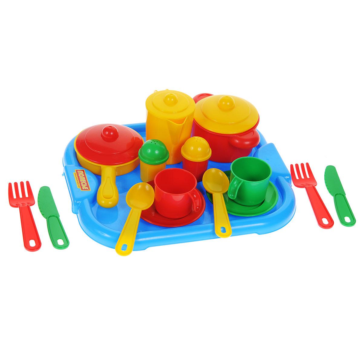 """Яркий набор детской посуды Полесье """"Настенька"""" прекрасно подойдет ребенку для веселых игр. Набор включает в себя посуду на две персоны. Предметы набора выполнены из высококлассного пищевого пластика ярких цветов. В состав набора входят две чашки, две тарелки, две ложки, две вилки, два ножа, чайник с крышкой, солонка, перечница, кастрюля с крышкой, сковородка с крышкой и поднос. Такой набор станет прекрасным дополнением к игровой ситуации с приглашением гостей к столу!"""