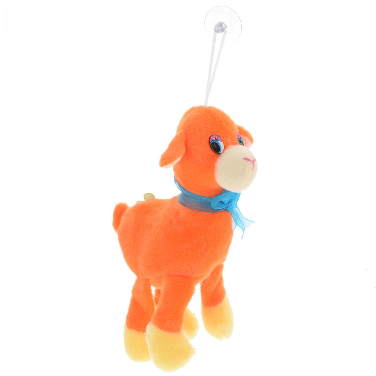 Мягкая игрушка Sima-land Овечка, на присоске, цвет: оранжевый, 15 см. 511090