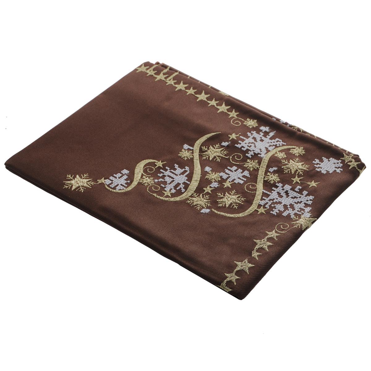 Скатерть новогодняя Home Queen, квадратная, цвет: коричневый, 85  x см