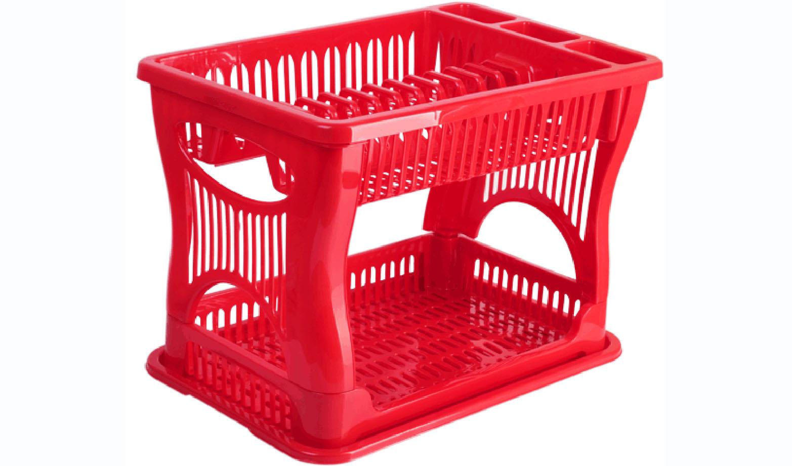Сушилка для посуды Idea, 2-ярусная, цвет: красный, 42 х 27 х 30,5 см0014310E212Двухъярусная сушилка Idea выполнена из прочного пластика и оснащена поддоном. Изделие комплектуется двумя ярусами: верхний ярус - для тарелок и столовых приборов, нижний ярус - для кружек, мисок и других предметов. Благодаря своей функциональности, сушилка для посуды Idea займет достойное место на вашей кухне и будет очень полезна любой хозяйке. Стильный, современный и лаконичный дизайн сделает сушилку прекрасным дополнением интерьера вашей кухни. Сушилку для посуды можете установить в любом удобном месте. Компактные размеры и оригинальный дизайн выделяют сушилку из ряда подобных.Общий размер сушилки: 42 х 27 х 30,5 см.