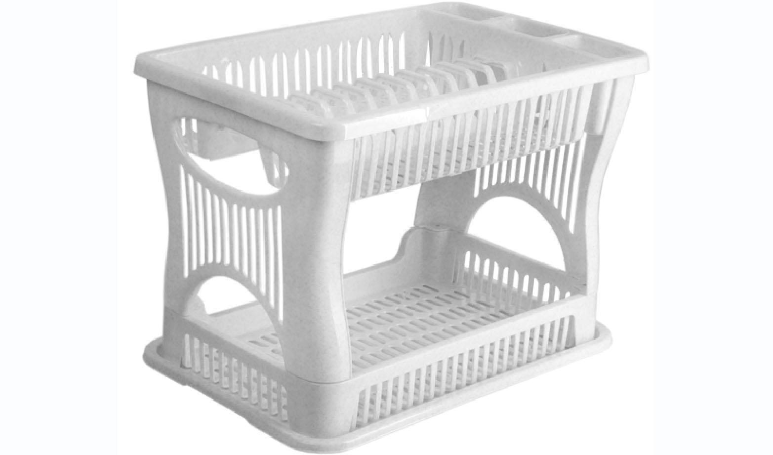 Сушилка для посуды Idea, 2-ярусная, цвет: мраморный, 42 х 27 х 30,5 см24827Двухъярусная сушилка Idea выполнена из прочного пластика и оснащена поддоном. Изделие комплектуется двумя ярусами: верхний ярус - для тарелок и столовых приборов, нижний ярус - для кружек, мисок и других предметов. Благодаря своей функциональности, сушилка для посуды Idea займет достойное место на вашей кухне и будет очень полезна любой хозяйке. Стильный, современный и лаконичный дизайн сделает сушилку прекрасным дополнением интерьера вашей кухни. Сушилку для посуды можете установить в любом удобном месте. Компактные размеры и оригинальный дизайн выделяют сушилку из ряда подобных.Общий размер сушилки: 42 х 27 х 30,5 см.