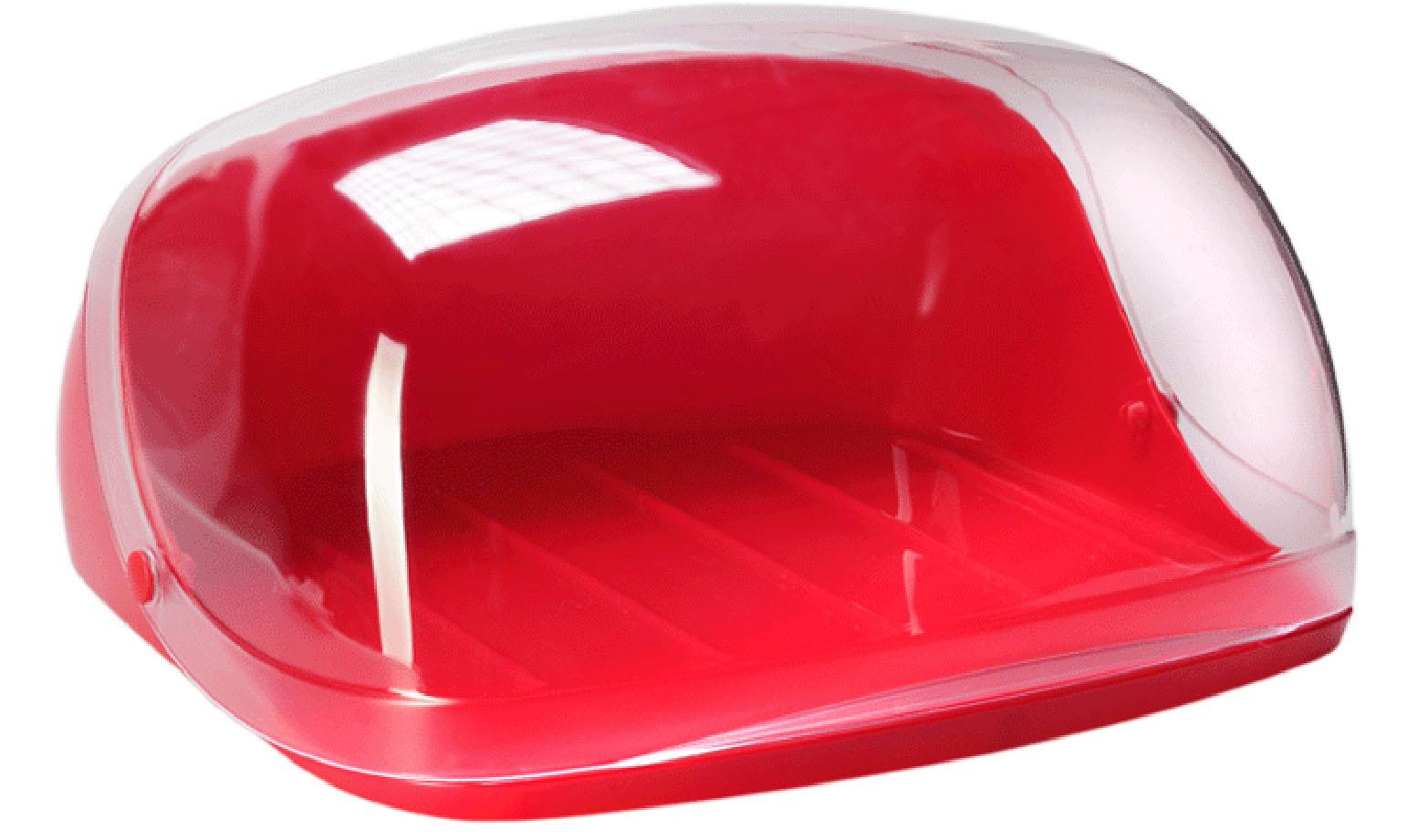 Хлебница Idea Кристалл, цвет: красный, прозрачный, 40 х 29 х 16 смMT-1951Хлебница Idea Кристалл, изготовленная из пищевого пластика, обеспечивает идеальные условия хранения для различных видов хлебобулочных изделий, надолго сохраняя их свежесть. Изделие оснащено плотно закрывающейся крышкой, защищающей продукты от воздействия внешних факторов (запахов и влаги).Вместительность, функциональность и стильный дизайн позволят хлебнице стать не только незаменимым аксессуаром на кухне, но и предметом украшения интерьера. В ней хлеб всегда останется свежим и вкусным.