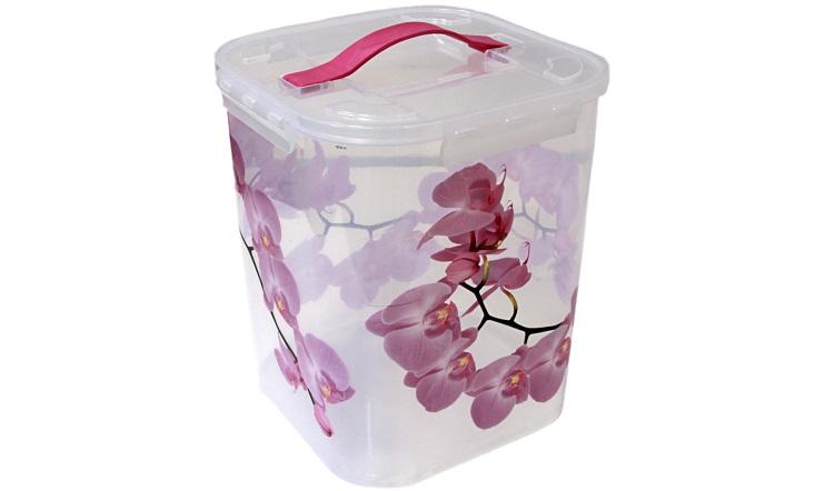 Контейнер для хранения Idea Орхидея, 10 лМ 2829Контейнер Idea Орхидея выполнен из высококачественного полипропилена, предназначен для хранения различных вещей и мелких аксессуаров.Контейнер снабжен плотно закрывающейся крышкой с четырьмя фиксаторами. Изделие оснащено резиновой ручкой на крышке для удобной переноски.Объем контейнера: 10 л.
