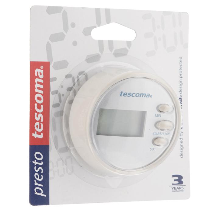 Таймер цифровой Tescoma Presto, цвет: белыйVT-1520(SR)Цифровой таймер Tescoma Presto, оснащенный прочным корпусом из высококачественного пластика, станет вашим надежным помощником на кухне. Оригинальный дизайн таймера украсит интерьер любой современной кухни. Таймер напомнит вам про молоко, пельмени или пирог. Он громко зазвенит, когда блюдо будет готово, поэтому вы можете себе позволить отвлечься на любимый фильм, не опасаясь, что у вас что-то подгорит или переварится. Таймер снабжен цифровым дисплеем, что делает его простым в обращении. Таймер Tescoma Presto оснащен магнитом, его без труда можно прикрепить в удобное для вас место на кухне. Максимальное время, на которое вы можете поставить таймер, составляет 99 минут 59 секунд. Диаметр таймера: 6,5 см.Работает от одной батарейки ААА, которая входит в комплект.