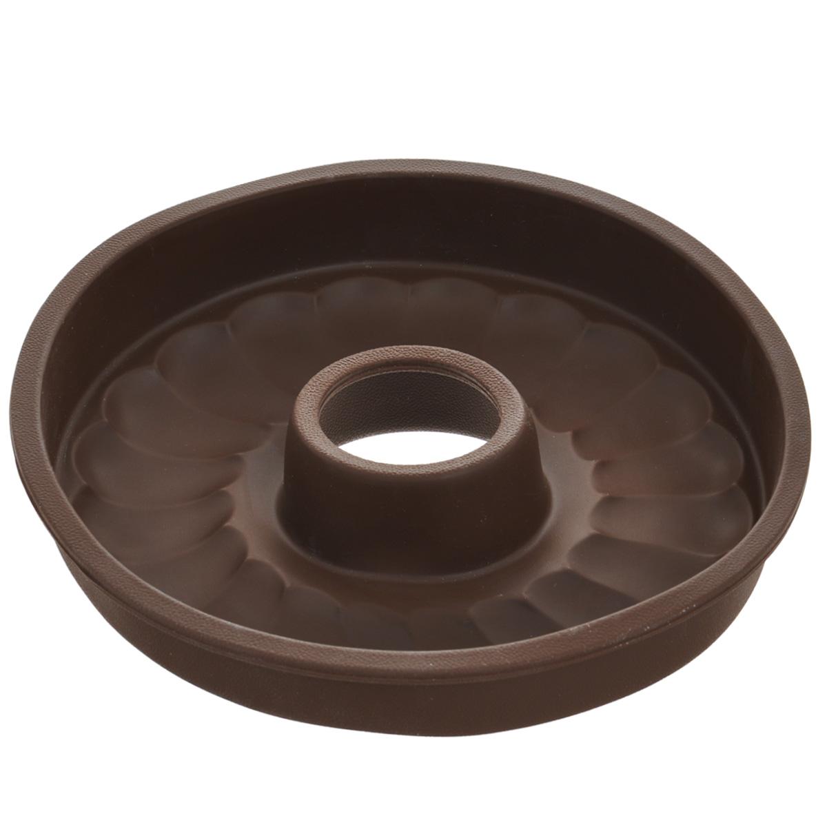 Форма для выпечки кекса Tescoma Delicia Silicone, круглая, цвет: коричневый, диаметр 26 см. 629228391602Круглая форма Tescoma Delicia Silicone будет отличным выбором для всех любителей выпечки. Благодаря тому, что форма изготовлена из силикона, готовую выпечку вынимать легко и просто. Дно формы оснащено рельефной поверхностью. Форма прекрасно подходит для выпечки кексов.С такой формой вы всегда сможете порадовать своих близких оригинальной выпечкой. Материал изделия устойчив к фруктовым кислотам, может быть использован в духовках, микроволновых печах, холодильниках и морозильных камерах (выдерживает температуру от -40°C до 230°C). Антипригарные свойства материала позволяют готовить без использования масла.Можно мыть и сушить в посудомоечной машине. При работе с формой используйте кухонный инструмент из силикона - кисти, лопатки, скребки. Не ставьте форму на электрическую конфорку. Не разрезайте выпечку прямо в форме.