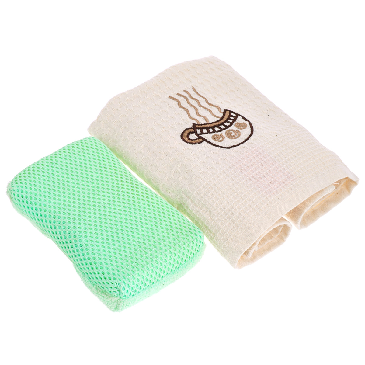 Подарочный набор для кухни Bonita Чайный сюрприз. Чашка, 2 предмета115510Подарочный набор для кухни Bonita Чайный сюрприз состоит из вафельного полотенца и губки из микрофибры. Полотенце выполнено из 100% хлопка и декорировано вышивкой в виде чашки. Такой набор оригинально украсит интерьер и будет уместен на любой кухне. Прекрасно подойдет в качестве подарка, который окажется не только приятным, но и полезным в хозяйстве.