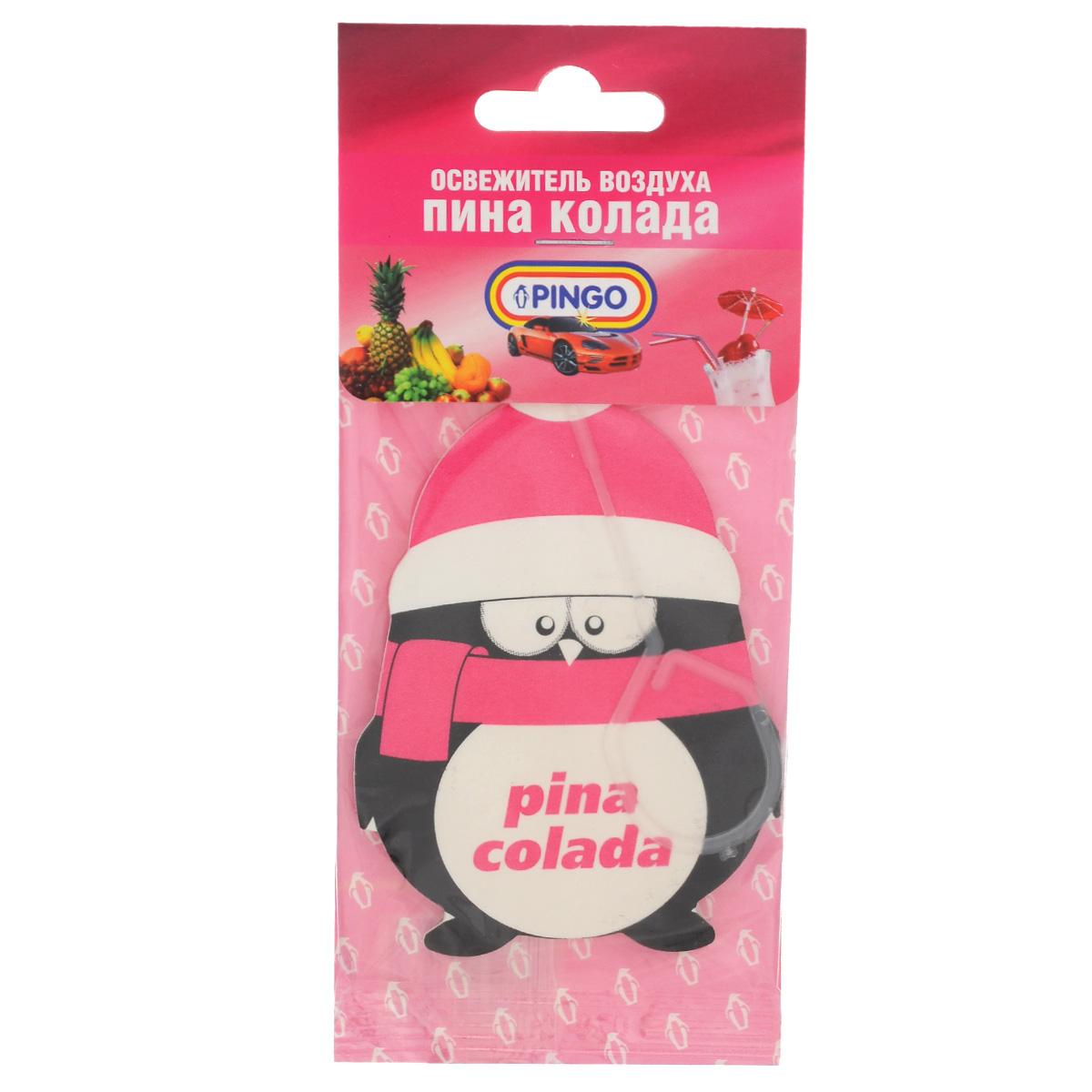 Освежитель воздуха Pingo Пина коладаRC-100BPCОсвежитель Pingo Пина колада, изготовленный из картона и парфюмерной композиции высокой концентрации, наполняет воздух приятным насыщенным ароматом ванили. Композиция из стойких натуральных ароматов эффективно освежает воздух в салоне автомобиля и нейтрализует неприятные запахи. Подвесьте освежитель за пластиковое кольцо в салоне автомобиля и получайте удовольствие!