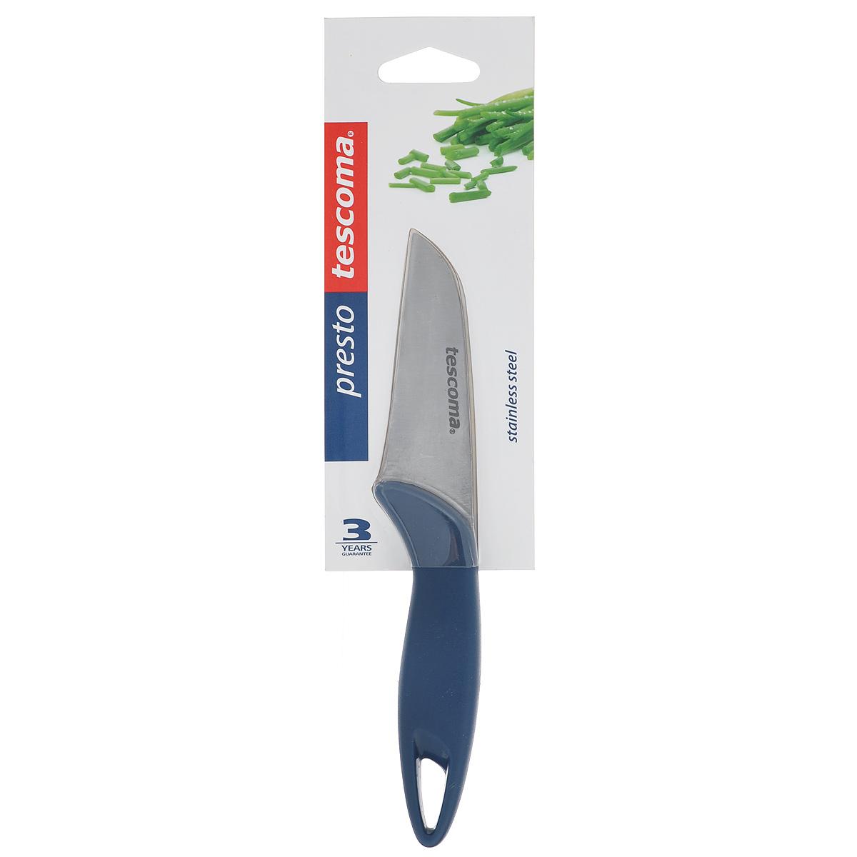 Нож кухонный Teccoma Presto, длина лезвия 8 см863007Нож кухонный Tescoma Presto изготовлен из первоклассной нержавеющей стали и прочной пластмассы. Лезвие заточено и сформировано для максимально эффективного использования. Такой нож станет прекрасным дополнением к коллекции ваших кухонных аксессуаров и не займет много места при хранении. Можно мыть в посудомоечной машине. Общая длина ножа: 19 см.Длина лезвия: 8 см.