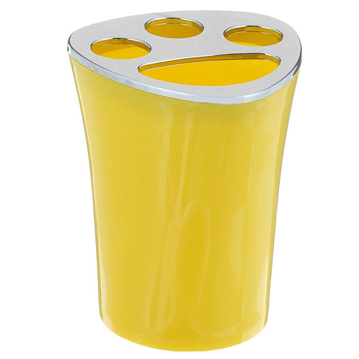 Стаканчик для зубных щеток Duschy Wiki Yellow, цвет: желтый357-02