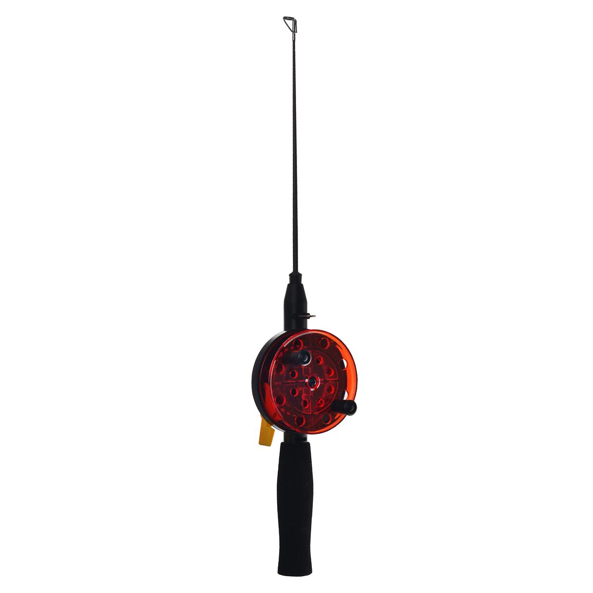 Удочка зимняя SWD HR202, цвет: черный, красный, d 76 мм, ручка неопрен 10 см, хл-кар 20 см багор для зимней рыбалки swd hr g03 телескопический 63 см
