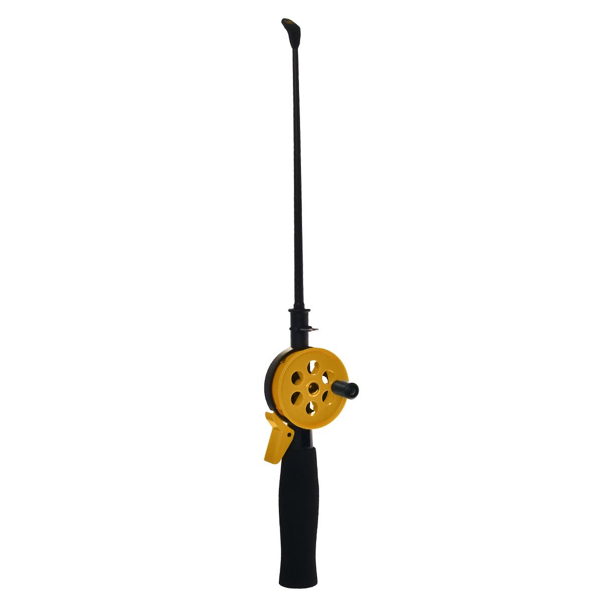 Удочка зимняя SWD HR402, цвет: черный, желтый, 38 см2116-240SETЗимняя удочка SWD HR402 с открытой катушкой диаметром 55 мм и клавишным стопором. Оснащена пластиковым хлыстом длиной 20 см с тюльпаном на конце. Ручка выполнена из неопрена.