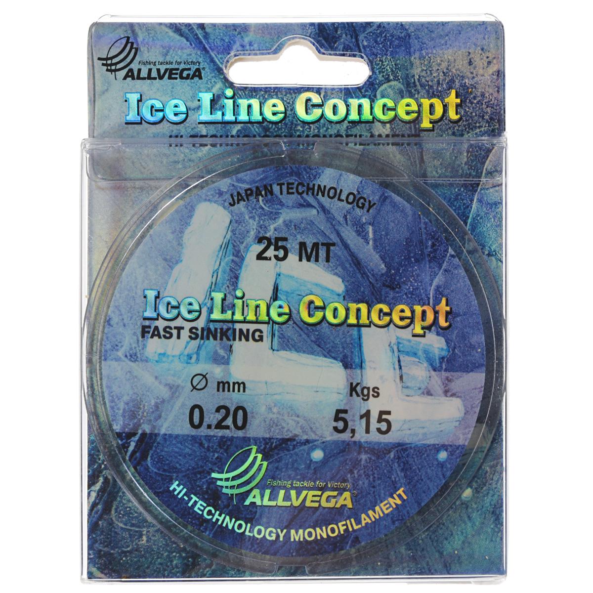 Леска Allvega Ice Line Concept, сечение 0,2 мм, длина 25 м удочка зимняя swd ice action 55 см