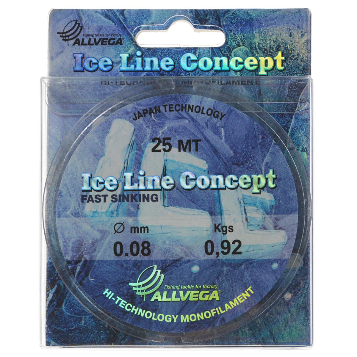 Леска Allvega Ice Line Concept, сечение 0,08 мм, длина 25 м4915-010Специальная зимняя леска Allvega Ice Line Concept для низких температур. Прозрачная и высокопрочная. Отсутствие механической памяти, позволяет с успехом использовать ее для ловли на мормышку.