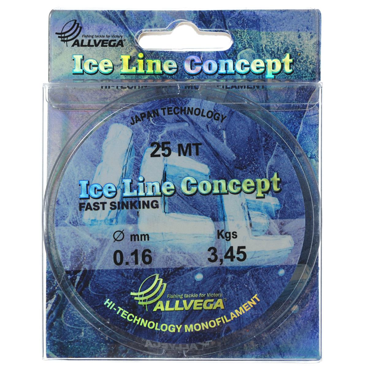 Леска Allvega Ice Line Concept, сечение 0,16 мм, длина 25 м010-01199-23Специальная зимняя леска Allvega Ice Line Concept для низких температур. Прозрачная и высокопрочная. Отсутствие механической памяти, позволяет с успехом использовать ее для ловли на мормышку.