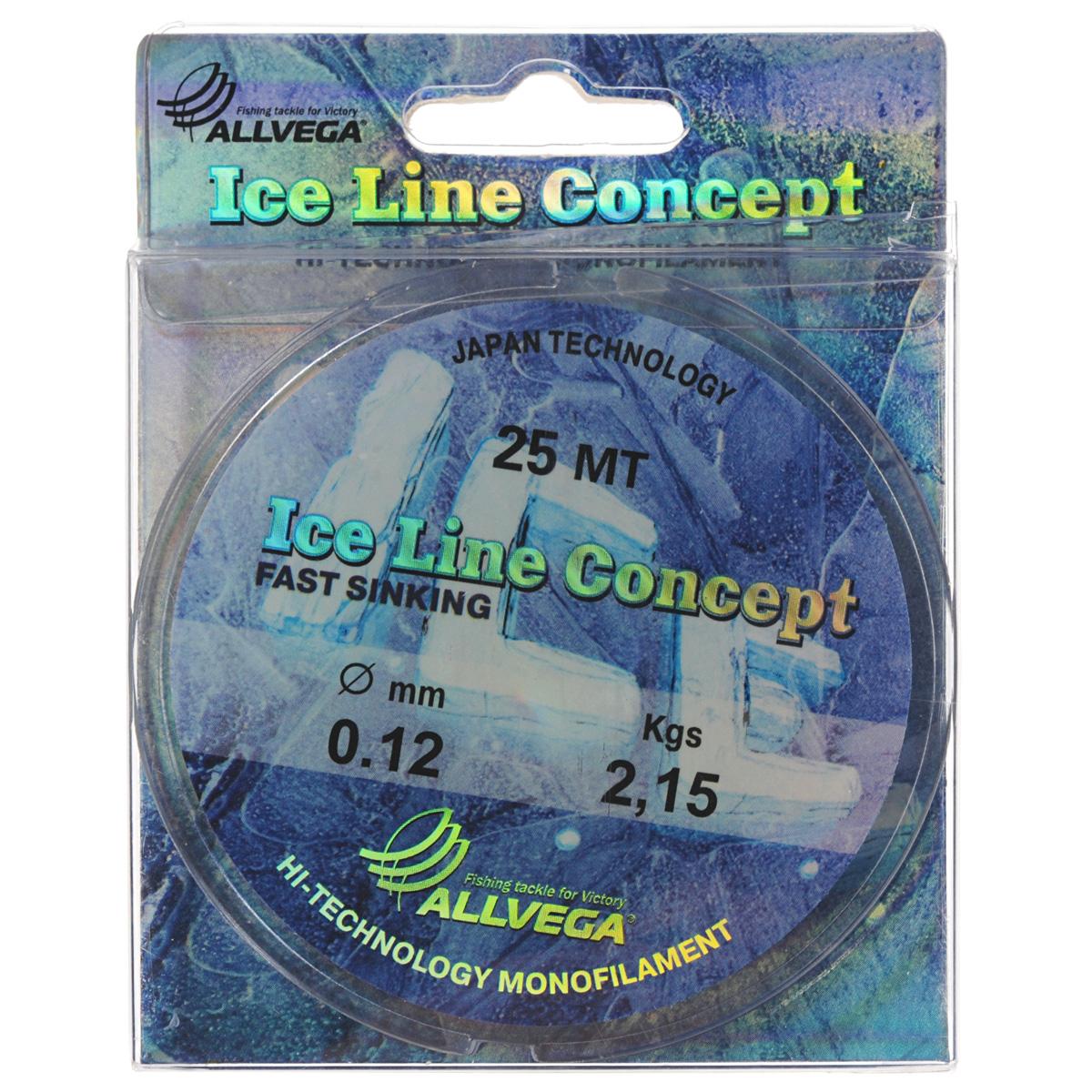Леска Allvega Ice Line Concept, сечение 0,12 мм, длина 25 м13-12-17-231Специальная зимняя леска Allvega Ice Line Concept для низких температур. Прозрачная и высокопрочная. Отсутствие механической памяти, позволяет с успехом использовать ее для ловли на мормышку.
