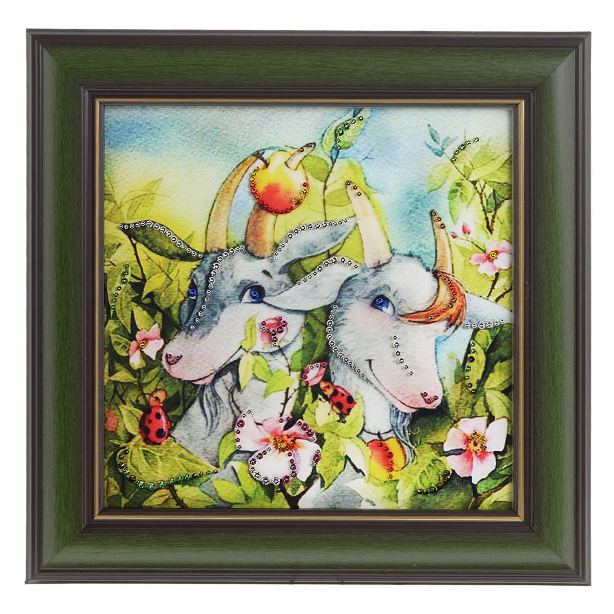 Картина с кристаллами Swarovski Рогатая нежность, 33 х 33 см картины в квартиру картина etude 2 102х130 см