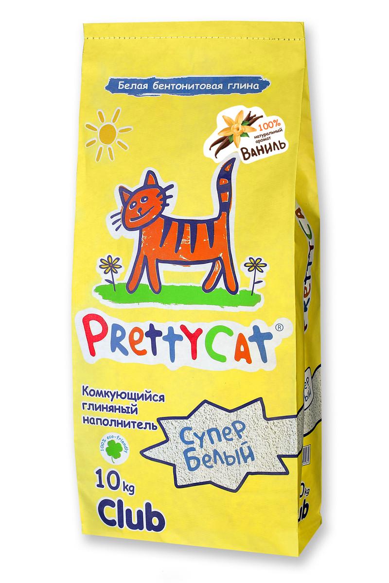 Наполнитель для кошачьих туалетов PrettyCat Супер белый, комкующийся, с ароматом ванили, 10 кг наполнитель для кошачьих туалетов sepicat fresh комкующийся облегченный классический 10 л