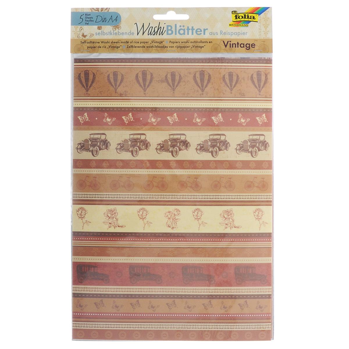 Рисовая бумага Folia Винтаж, самоклеящаяся, 29,5 x 21 см, 5 листов