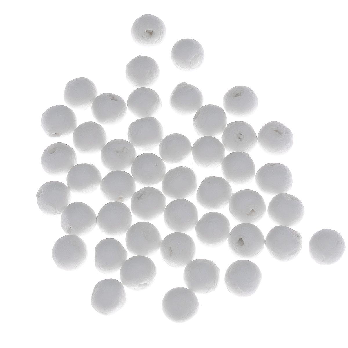 Шарики хлопковые Hobby Time, цвет: белый, диаметр 12 мм, 45 шт