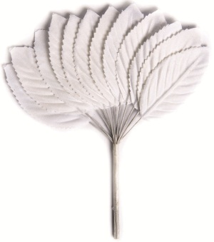 Листья декоративные Hobby Time, цвет: белый, 12 шт7705465Декоративные листья Hobby Time, изготовленные из текстиля, предназначены для декорирования. Они могут пригодиться в оформлении праздника, одежды, предметов интерьера, подарков, цветочных букетов, а также в скрапбукинге. Изделия оснащены металлической проволокой. Размер листа (без учета проволоки): 5 см х 2,8 см.