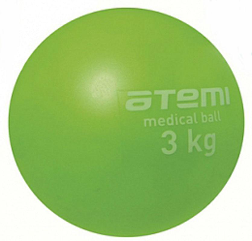 Медицинбол Atemi, цвет: зеленый, диаметр 14 см, 3 кгWRA523700Мягкий, утяжеленный мяч Atemi небольшого диаметра. Одинаково хорошо подходит для тренировки силы, баланса и координации. Анти-скользящая поверхность. Изготовлен из мягкого и приятного на ощупь ПВХ. Наполнитель песок.