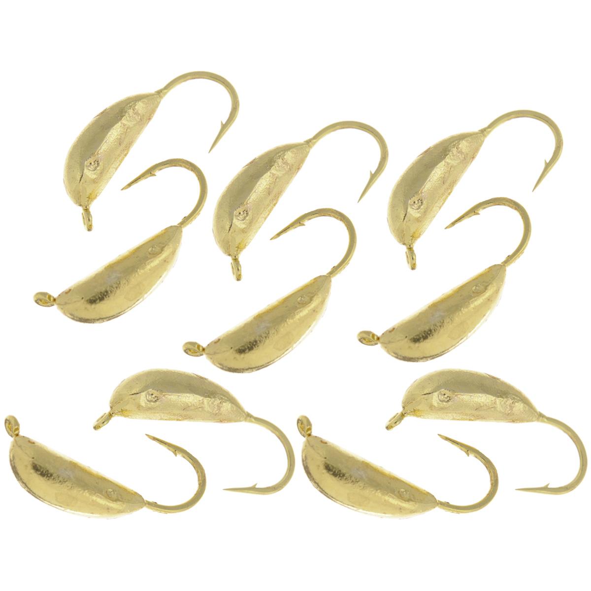 Мормышка вольфрамовая Dixxon-Russia, рижский банан, цвет: золотой, диаметр 4 мм, 0,8 г, 10 шт4271825Мормышка Dixxon-Russia изготовлена из вольфрама и оснащена крючком. Главное достоинство вольфрамовой мормышки - большой вес при малом объеме. Эта особенность дает большие преимущества при ловле, так как позволяет быстро погрузить приманку на требуемую глубину и лучше чувствовать игру мормышки.